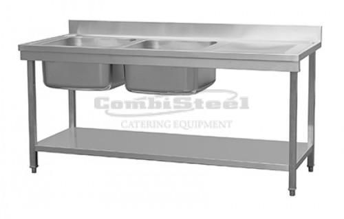 Combisteel 700 Stainless Steel Double Left Bowl Sink Flat Pack 1800mm Wide - 7455.0220